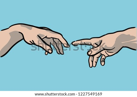 Cartoon style vector illustration of the creation of Adam by Michelangelo Buonarroti - hands detail