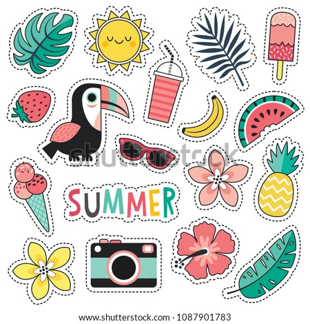 Cartoon style vector summer patches with cute toucan, tropical leaves and flowers, summer fruits and ice creams. Isolated on white, for stickers, pins, badges, fashion embroidery, temporary tattoos. #1087901783