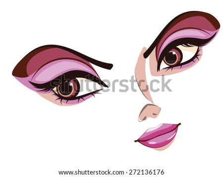 cartoon stylized female face in