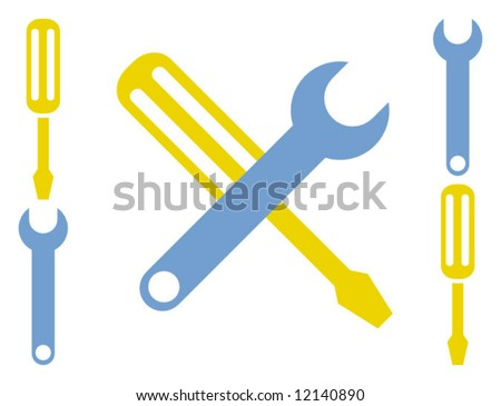 Cartoon Stylized Screwdriver and Wrench
