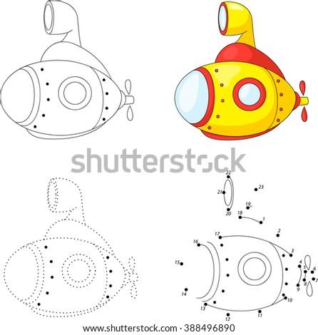 Cartoon submarine. Dot to dot educational game for kids