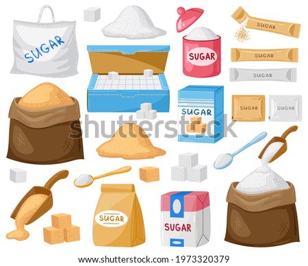 Cartoon sugar. Cube sugar, granulated and crystalline, sugar in canvas bags and carton packages vector illustration set. Sugar cartoon symbols. Food in bag, sweet ingredient cartoon