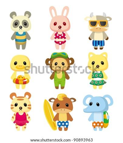 cartoon summer animal - stock vector