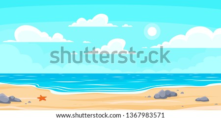cartoon summer beach paradise