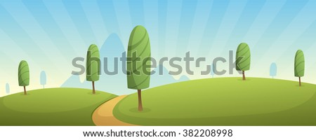 Cartoon summer landscape, road trail over field with trees.
