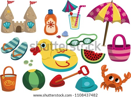 Cartoon Summer objects isolated on white background. Vector illustration of a beach objects set.