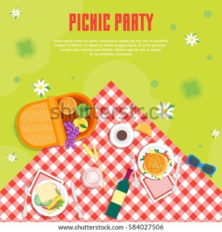 cartoon summer picnic in park