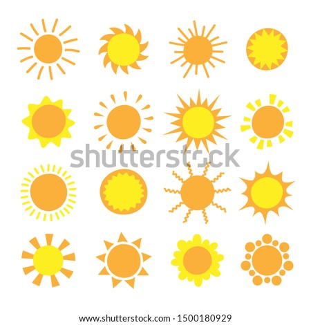 Cartoon sun collection. Yellow sun icons set isolated on white. Sun pictogram, summer symbol for website design, web button, mobile app.