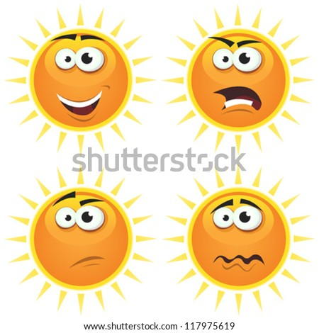Cartoon Sun Icons Emotions/ Illustration of a set of various cartoon funny sun symbol icons characters with various emotions, happy, angry, doubtful and sadness