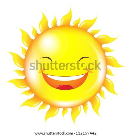Cartoon Sun, Isolated On White Background, Vector Illustration