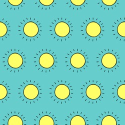 Cartoon sun pattern with hand drawn doodle sun. Cute vector colorful sun pattern. Seamless cheerful sun pattern for fabric, wallpapers, wrapping paper, cards and web backgrounds.
