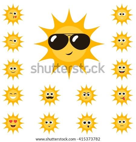cartoon sun set with funny smiley faces