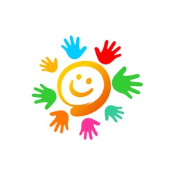 Cartoon sun with hands logo