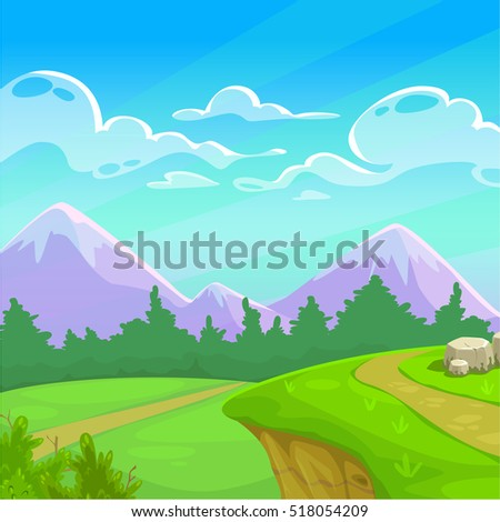 cartoon sunny day landscape