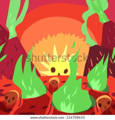 cartoon sunrise in hell flat