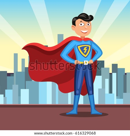 cartoon superhero in red cape