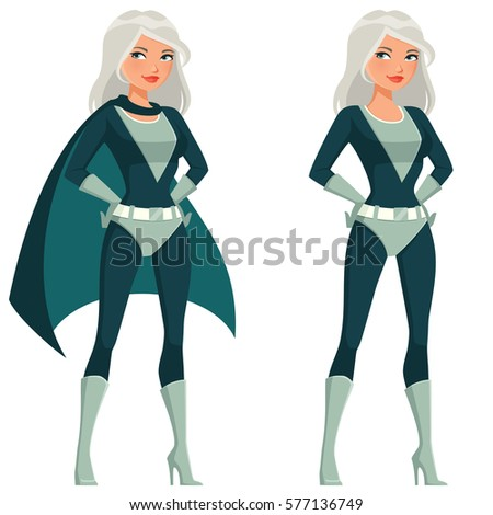 cartoon superwoman with silver