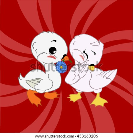 cartoon swans with flower