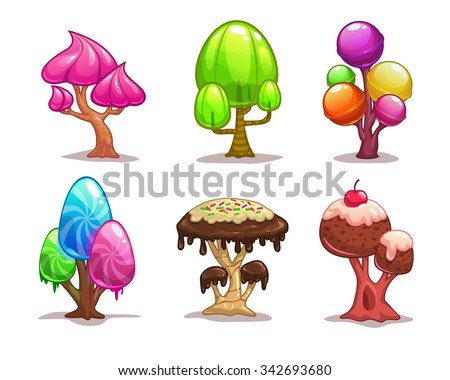 cartoon sweet candy trees