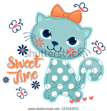 Stock Photo Cartoon sweet cat girl wearing a bow decorated with butterflies around isolated on white background illustration vector.