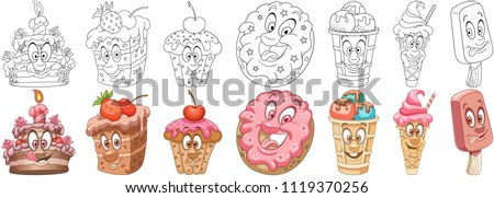 Cartoon Sweet Dessert Food Collection. Coloring pages and colorful designs for coloring book, t-shirt print, icon, logo, label, patch, sticker. Vector illustrations.