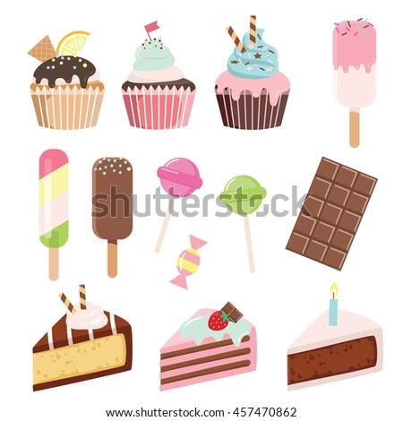 cartoon sweets set   cupcakes