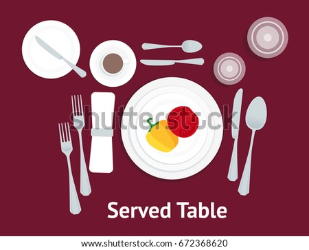 Cartoon Table Setting Place Formal with Vegetables Flat Design Style Top View Placement Etiquette. Vector illustration