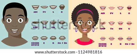 Cartoon Talking Black Woman and Man Expressions. Mouth and Lips Vector Animation Poses for Video Blog. English Accent and Pronunciation, Tongue and Articulation