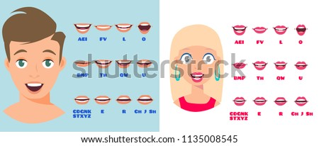 Cartoon Talking White Woman and Man Expressions. Mouth and Lips Vector Animation Poses for Video Blog. English Accent and Pronunciation, Tongue and Articulation