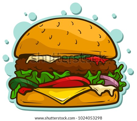 Cartoon tasty big hamburger with cheese and sesame seeds isolated on white background. Vector sticker icon.