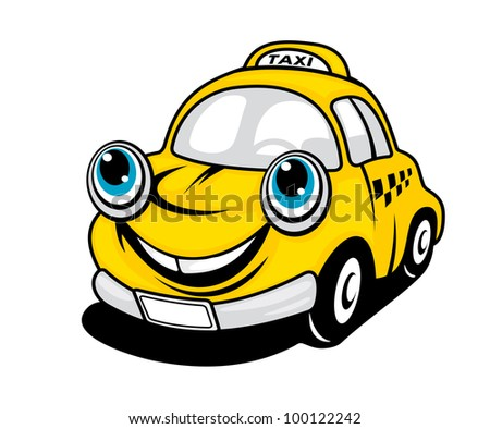 Cartoon taxi car with smile for transportation design. Jpeg version also available in gallery