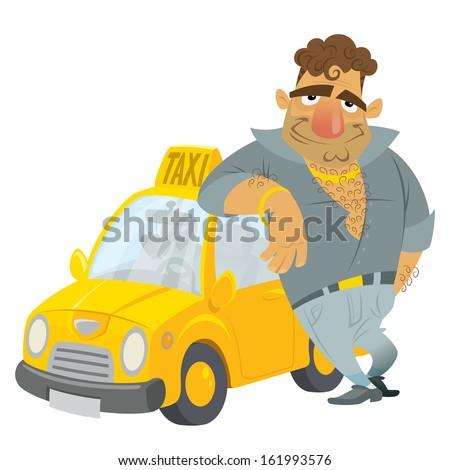 cartoon taxi driver humorous