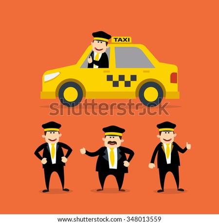 cartoon taxi driver set yellow