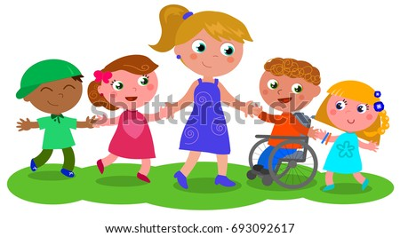 Cartoon teacher or baby-sitter with boys, girls and disabled kid, vector illustration isolated on white
