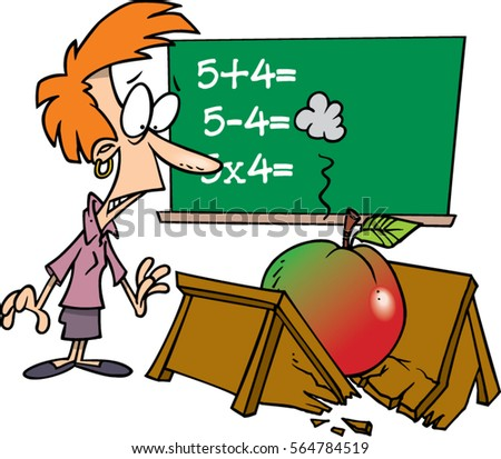 cartoon teacher with giant apple breaking her desk