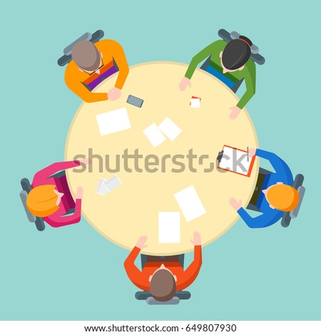 Cartoon Team Meeting Table with People Top View Business Presentation, Conference, Discussion or Brainstorming Flat Design Style. Vector illustration