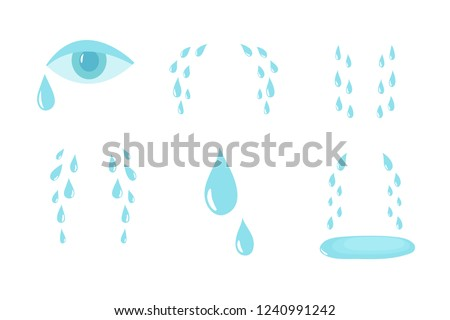 Cartoon tears. Cry and sweat drops. Crying tears, droplets from eyes vector isolated set