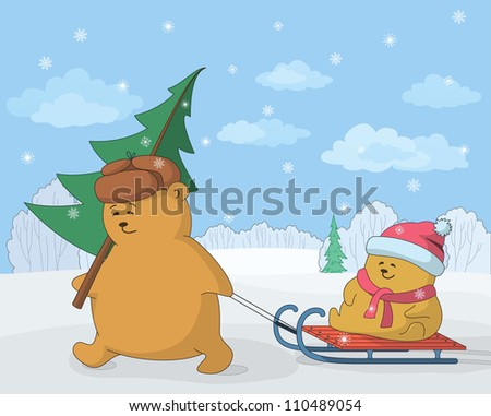 Cartoon, teddy bears in the winter forest, father with a Christmas tree and child on sled. Vector illustration