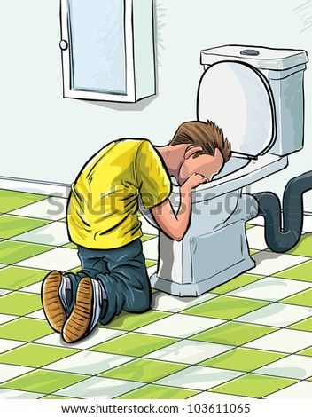 Cartoon teenager sick in toilet after drinking to much. In a bathroom