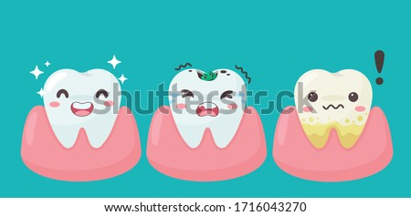 Cartoon teeth and gums inside the mouth are happy with the problem of tooth decay. There are plaque on the teeth. ストックフォト ©