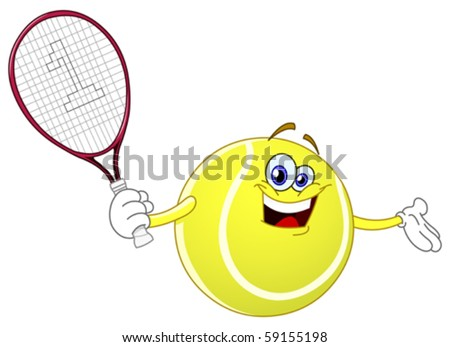 Cartoon tennis ball holding his racket
