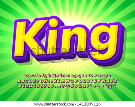 cartoon text effect with pop design style, shine green sun burst background, colorful logotype alphabet, game logo and product headline font