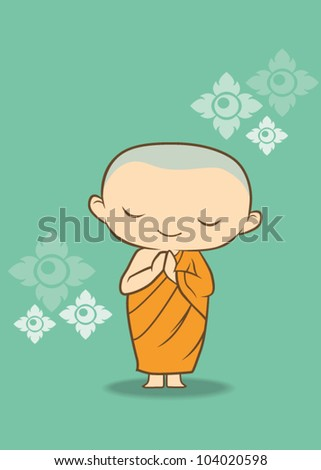 Cartoon Thai Monk