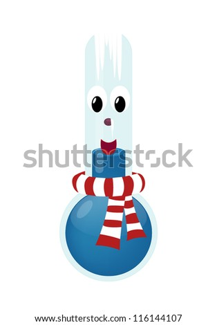 Cartoon thermometer with scarf in freezing cold
