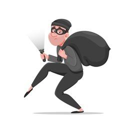 Cartoon thief walking carefully, bandit carries sack with money. Funny burglar. Vector illustration on white background