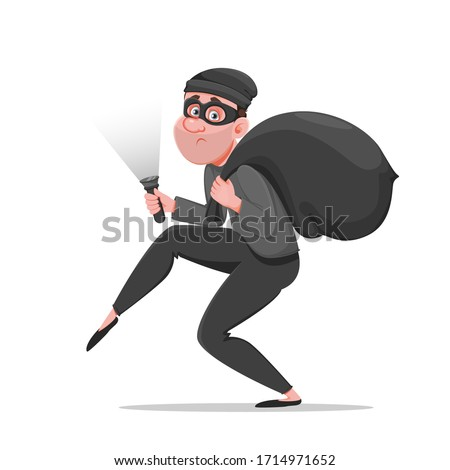 Cartoon thief walking carefully, bandit carries sack with money. Funny burglar. Vector illustration on white background Foto stock ©