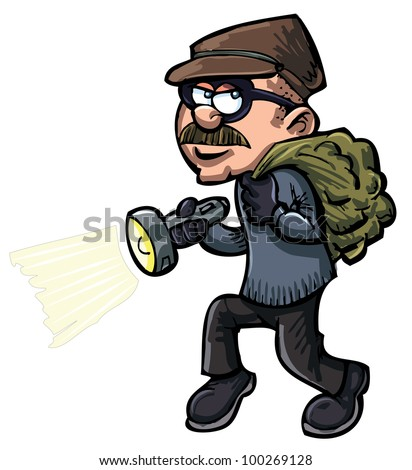 Cartoon thief with a flash light. Isolated
