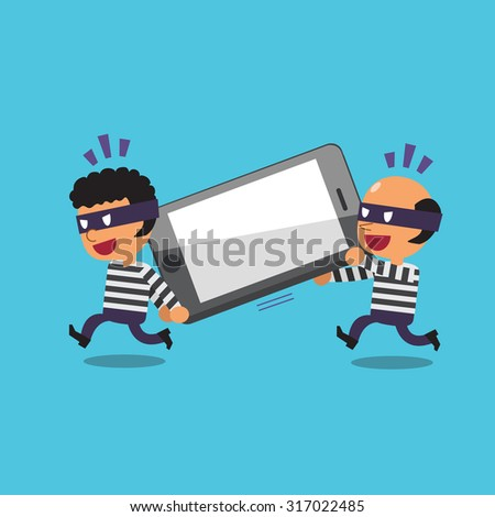 Cartoon thieves stealing big smartphone Foto stock ©