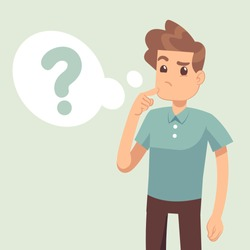Cartoon thinking man with question mark in think bubble vector illustration. Man and question in bubble think