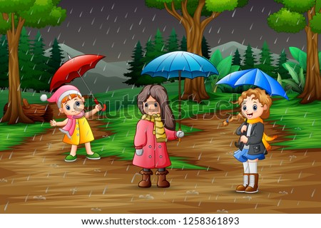 Cartoon three girl carrying umbrella under the rain in the forest